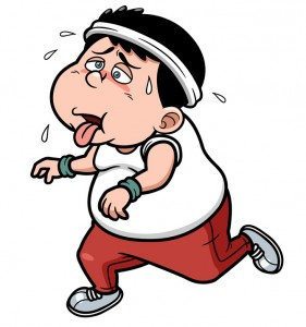 Fat man jogging tired