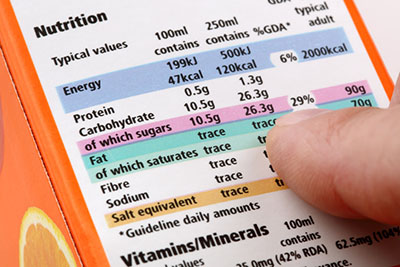Reading a food label on food packaging