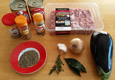 Low carb Moussaka ingredients