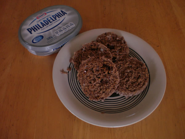 Sliced Muffin in a Minute with cream cheese.